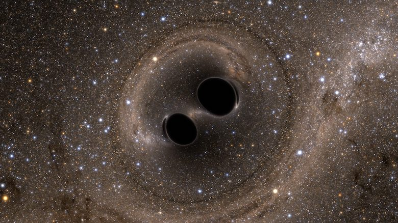 This simulation depicts two merging black holes, each about 30 solar masses. This is approximately what a person would see if they could travel in spaceship to take a closer look at merging black holes.