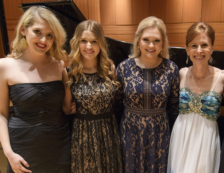 UM alumna Tiffany Gammell (left) welcomes Ole Miss music students Maddi Jolley and Carley Wilemon, along with music professor Nancy Maria Balach (right) to Charleston, South Carolina, this weekend for performances, classes and a broadcast of 'LMR Live' from the College of Charleston. Photo by Thomas Graning