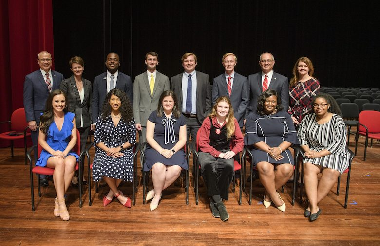 The 2019 University of Mississippi Hall of Fame. Pictured are (front row, from left) Blair Wortsmith, of Little Rock, Arkansas; Makala McNeil, of Grenada; Mallie Imbler, of Tupelo; Jaz Brisack, of Oxford; Skylyn Irby, of Batesville; Randon Hill, of Oxford; (top row from left) UM Provost Noel Wilkin; UM Vice Chancellor for Student Affairs Brandi Hephner LaBanc; Jarvis Benson, of Grenada; Levi Bevis, of Florence, Alabama; Elam Miller, of Murfreesboro, Tennessee; Jacob Ferguson, of Randolph; UM Interim Chancellor Larry Sparks and UM Assistant Vice Chancellor and Dean of Students Melinda Sutton Noss. Photo by Thomas Graning