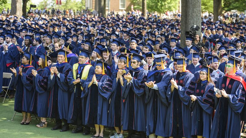 Thousands of UM graduates, family, friends and alumni are set to gather May 11 in the Grove for the university's 166th Commencement exercises. Photo by Thomas Graning