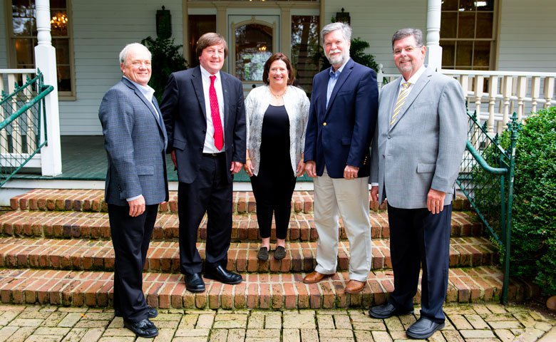 Helen Overstreet of Oxford, Mississippi, center, has made a major gift to strengthen eight areas of the University of Mississippi important to her and her late husband, Mike Overstreet. Visiting with her are, from left, Wendell Weakley, president/CEO of the UM Foundation; Mark Wilder, dean of the Patterson School of Accountancy; Ken Cyree, dean of the School of Business Administration; and Morris Stocks, the Don Jones Chair of Accountancy.