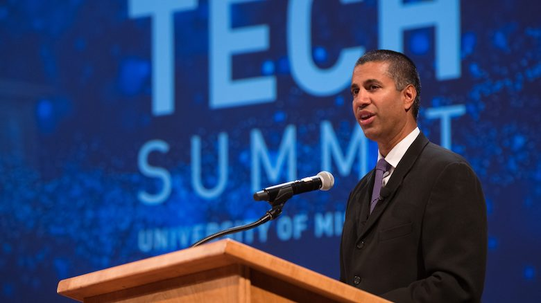 Ajit Pai, chairman of the U.S. Federal Communications Commission, discusses recent programs and policies during his address at the annual UM Tech Summit. Photo by Kevin Bain